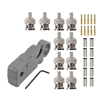 10pcs BNC Crimp Male Connector for RG58 RG400 LMR195 and Rorary Coax.Cable stripper for
