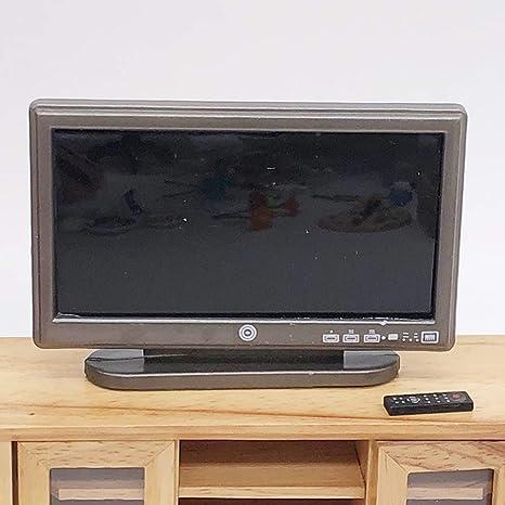 ypypiaol 1/12 Doll House Miniatura Televisor LCD TV Control Remoto ...