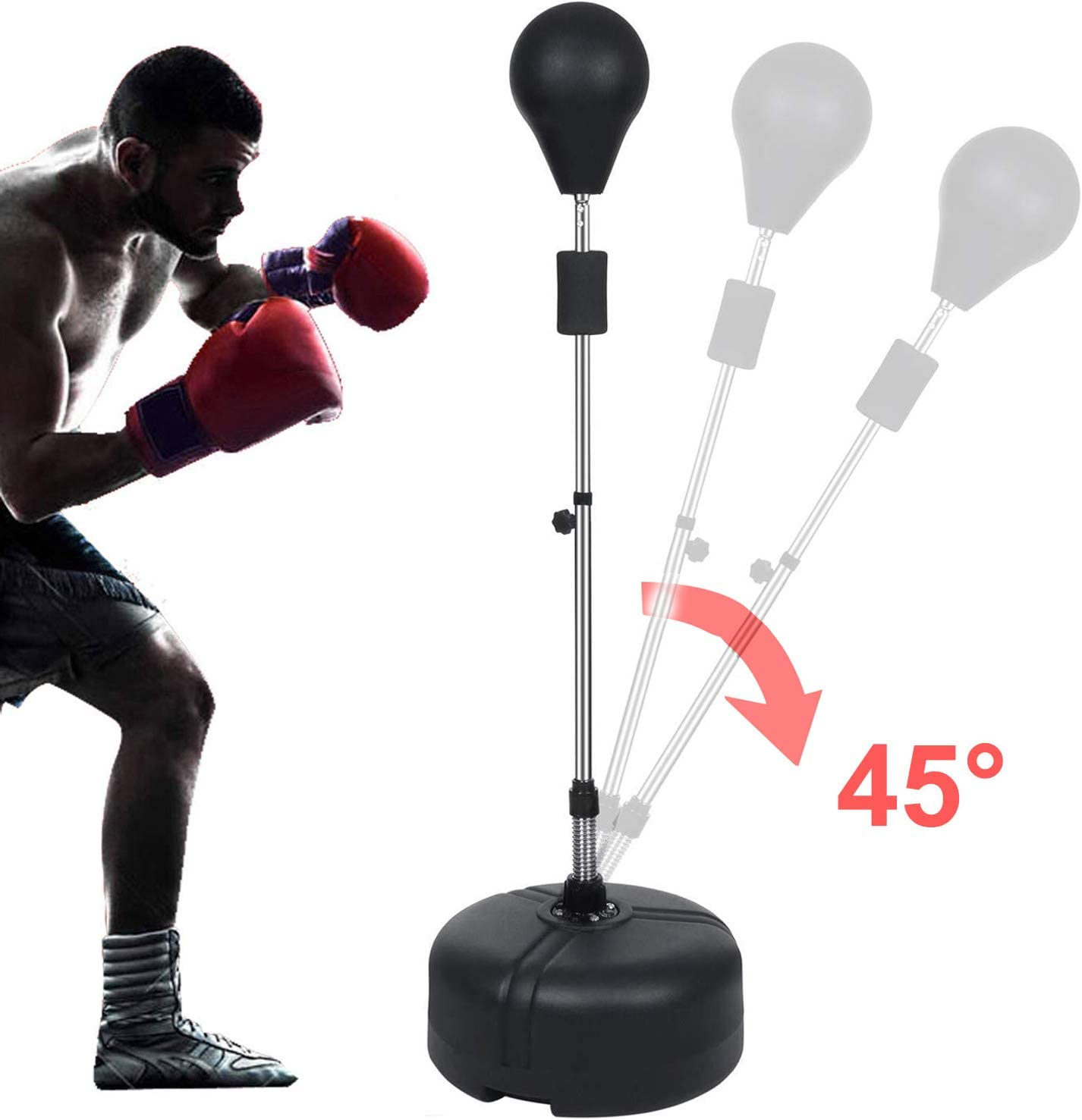 Hurbo Boxing Punching Bag with Stand Reflex Speed Punching Bag Adjustable Height for Adults & Teenagers (Black) : Sports & Outdoors