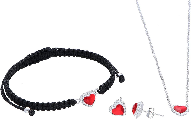Omikron Conjunto de Joyas de Plata 925 con Cristales Swarovski® Pendientes, Pulsera y Gargantilla para Mujeres y Adolescentes