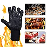 GZQ 1 Pair BBQ Grill Gloves 932°F Heat Resistant Gloves Heatproof Safety Flame Resistant Mitts For Pot Holders Cooking Baking Barbecue Microwave Oven Grilling Fireplace (Black)