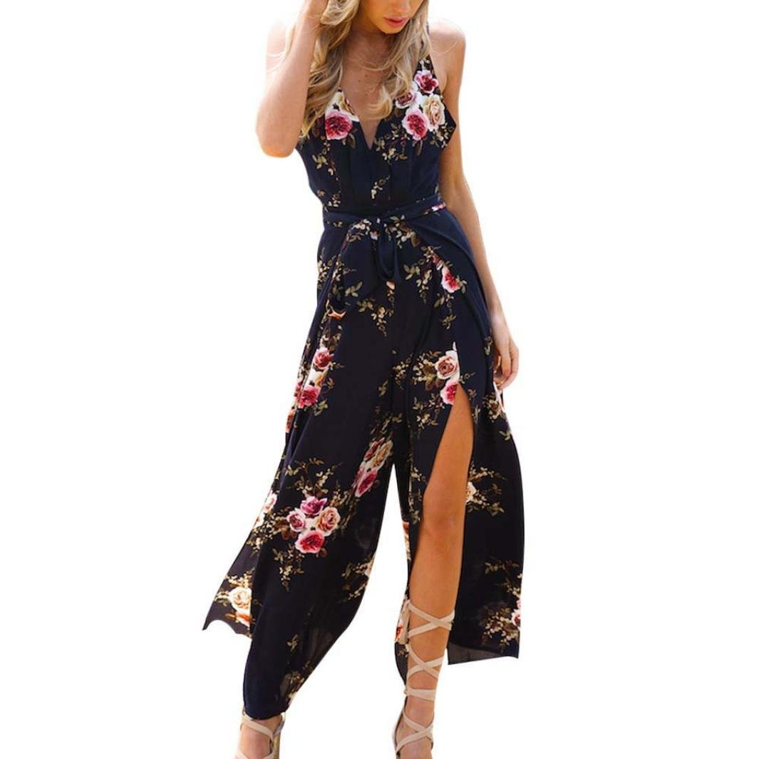 Rambling Women Sleeveless Floral Print Jumpsuit, Summer Loose Playsuit Rompers Wide Leg Long Pants Trousers