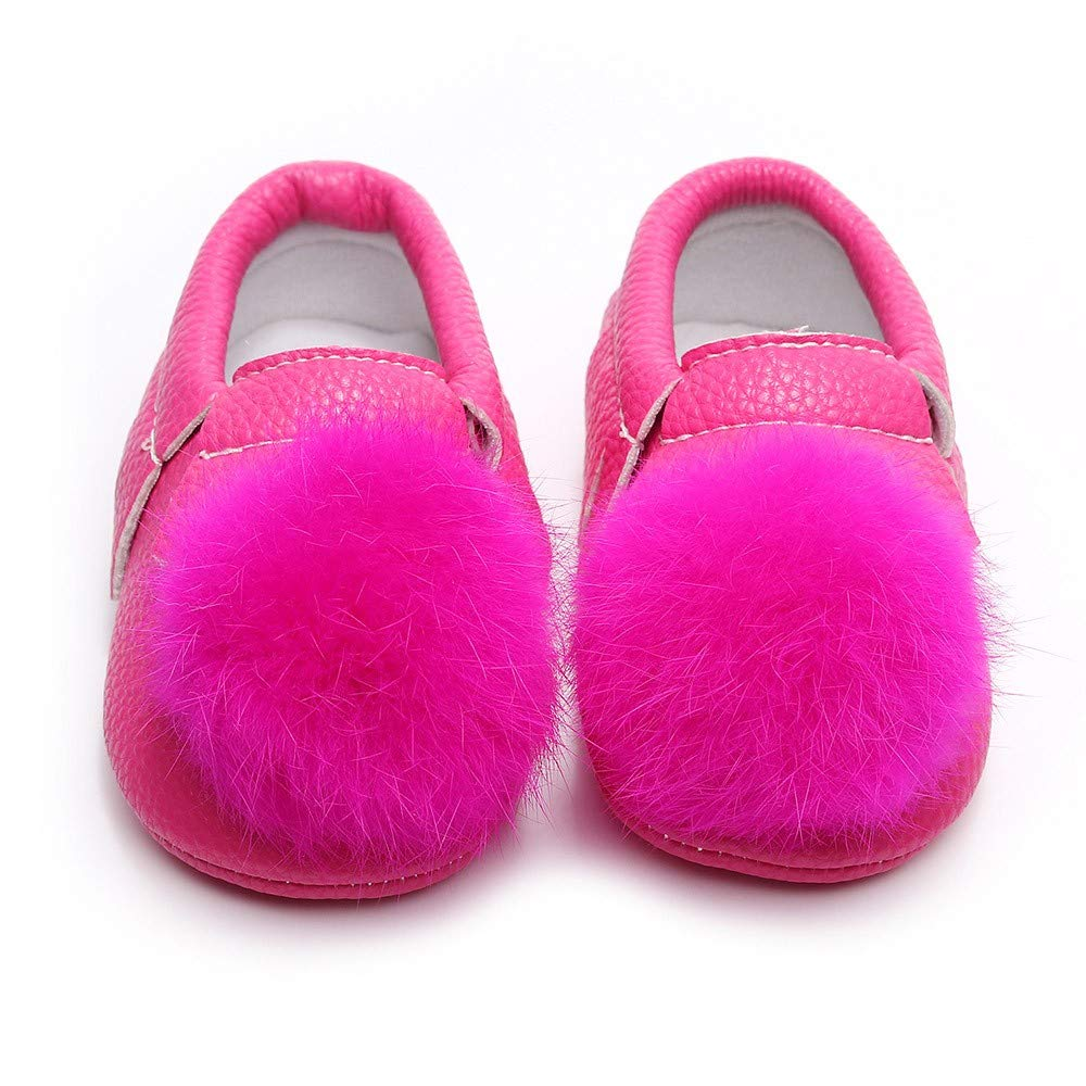 Foncircle Baby Girls Hair Ball Comfy Single Leather Shoes First Walkers Shoes Multi-Colors
