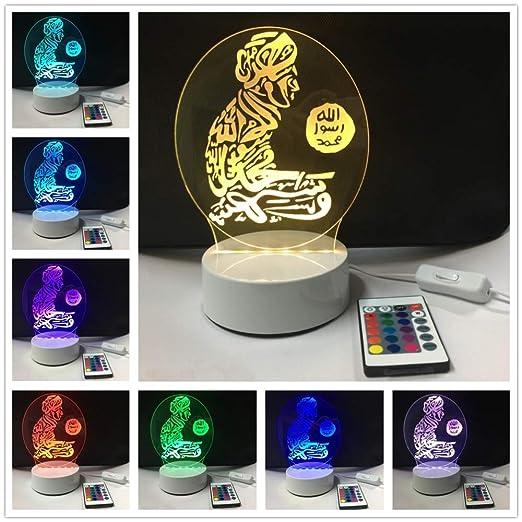 MinegRong 3D LED Islam Dios Allah Bendiga Árabe Lámpara de Mesa de ...