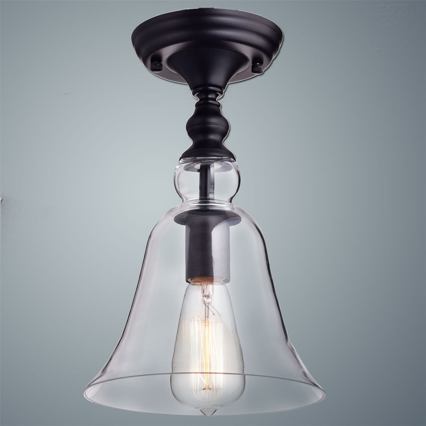 Claxy ecopower vintage hanging big bell glass shade ceiling light claxy ecopower vintage hanging big bell glass shade ceiling light 1 light amazon aloadofball Gallery