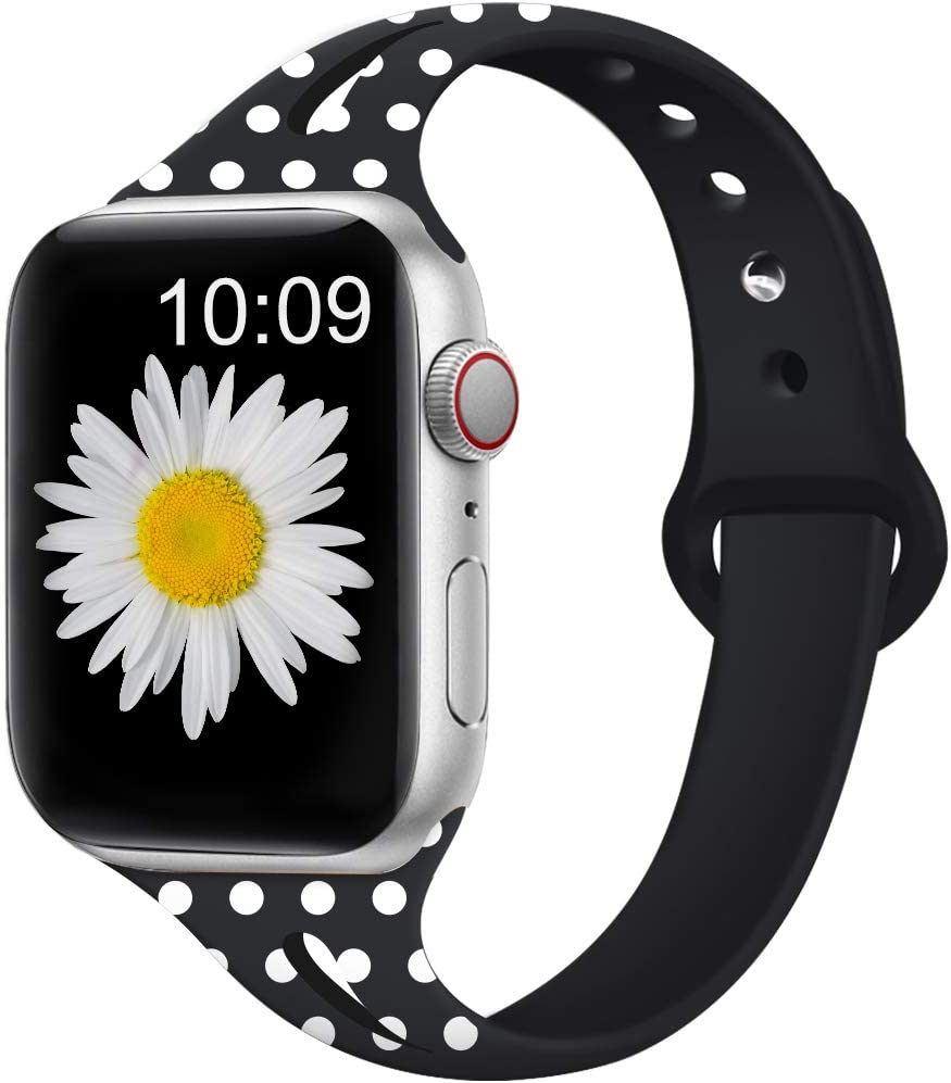 EXCHAR Floral Bands Compatible for Apple Watch Band 38mm 40mm 42mm 44mm, Breathable Fadeless Silicone Printed Pattern Replacement Strap for iWatch Series 5/4/3/2/1