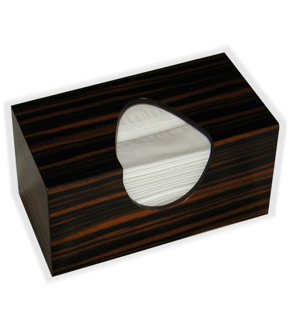 Wooden Tissue Box Cover In Reconstituted Striped Ebony Veneer Rectangular Family Size. (Puffs Opening With Bottom)