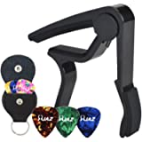 Guitar Picks Guitar Capo Acoustic Guitar Accessories Capo Key Clamp Black With Free 6 Pcs Guitar Picks and Leather…