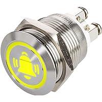 LED-tryckknapp med klocksymbol, installation Ø 19 mm platt rostfri stålknapp med färgupplyst klocksymbol och…