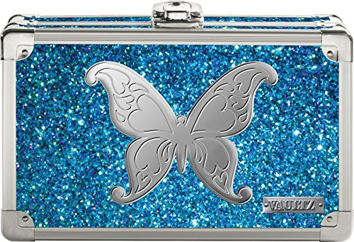 "Vaultz Locking Supply Box, 5"" x 2.5"" x 8.5"", Blue Bling with Butterfly (VZ03604) from Vaultz"