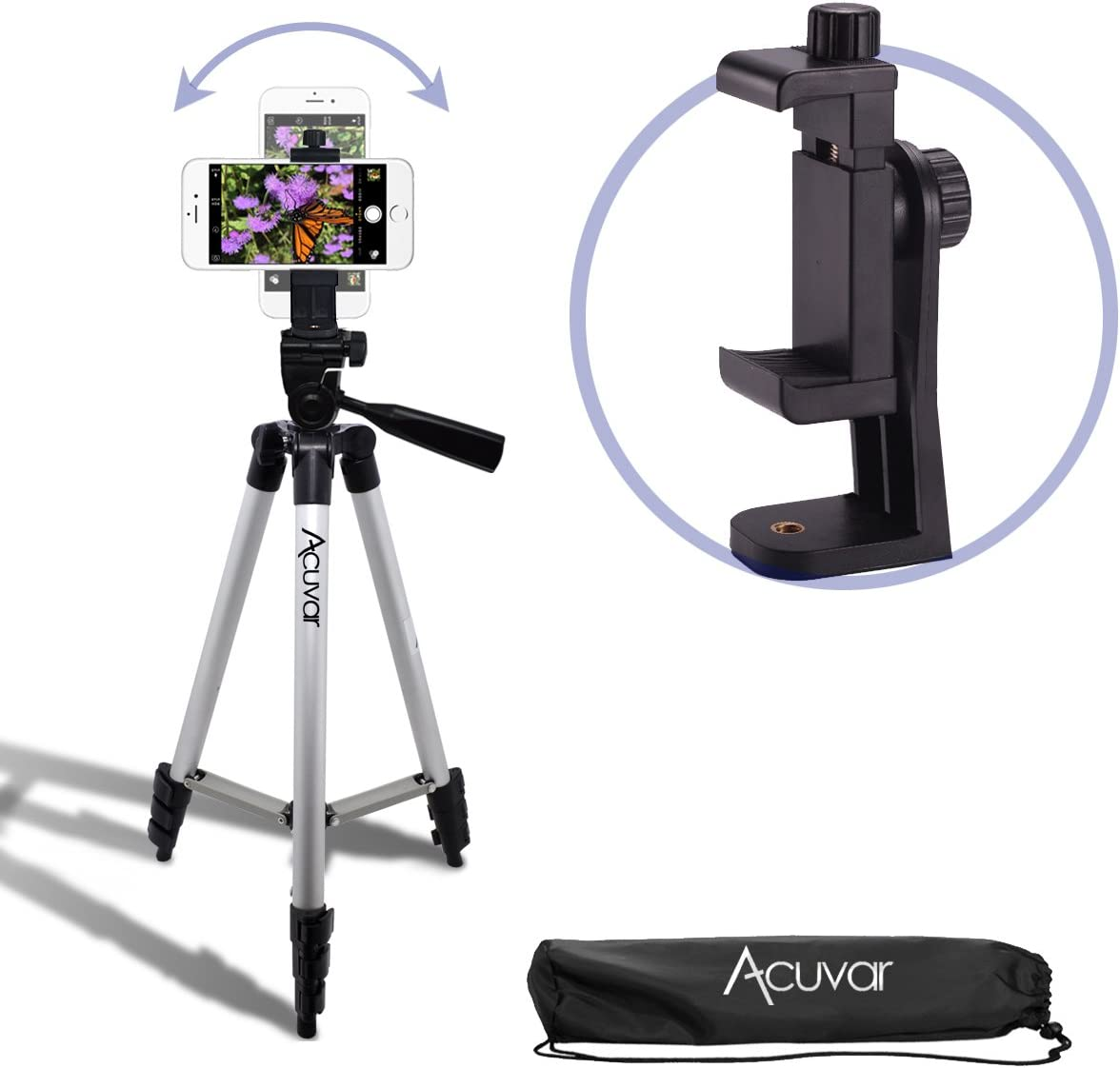 """Acuvar 50"""" Smartphone/Camera Tripod with Rotating Mount. Fits iPhone X, 8, 8+, 7, 7 Plus, 6, 6 Plus, 5s Samsung Galaxy, Android, etc."""