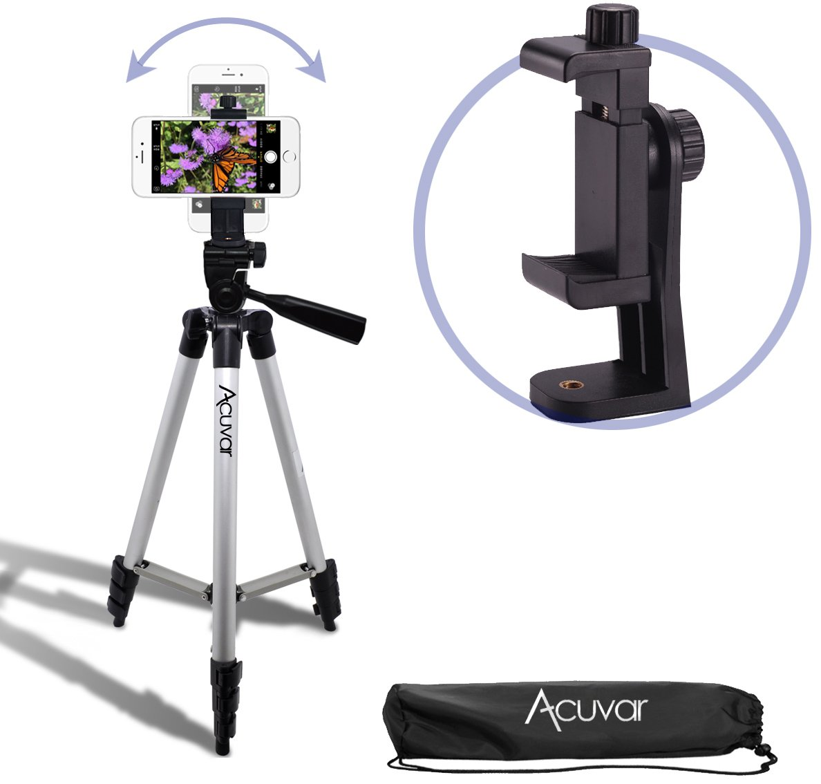 Acuvar 50'' Smartphone/Camera Tripod with Rotating Mount. Fits iPhone X, 8, 8+, 7, 7 Plus, 6, 6 Plus, 5s Samsung Galaxy, Android, etc.