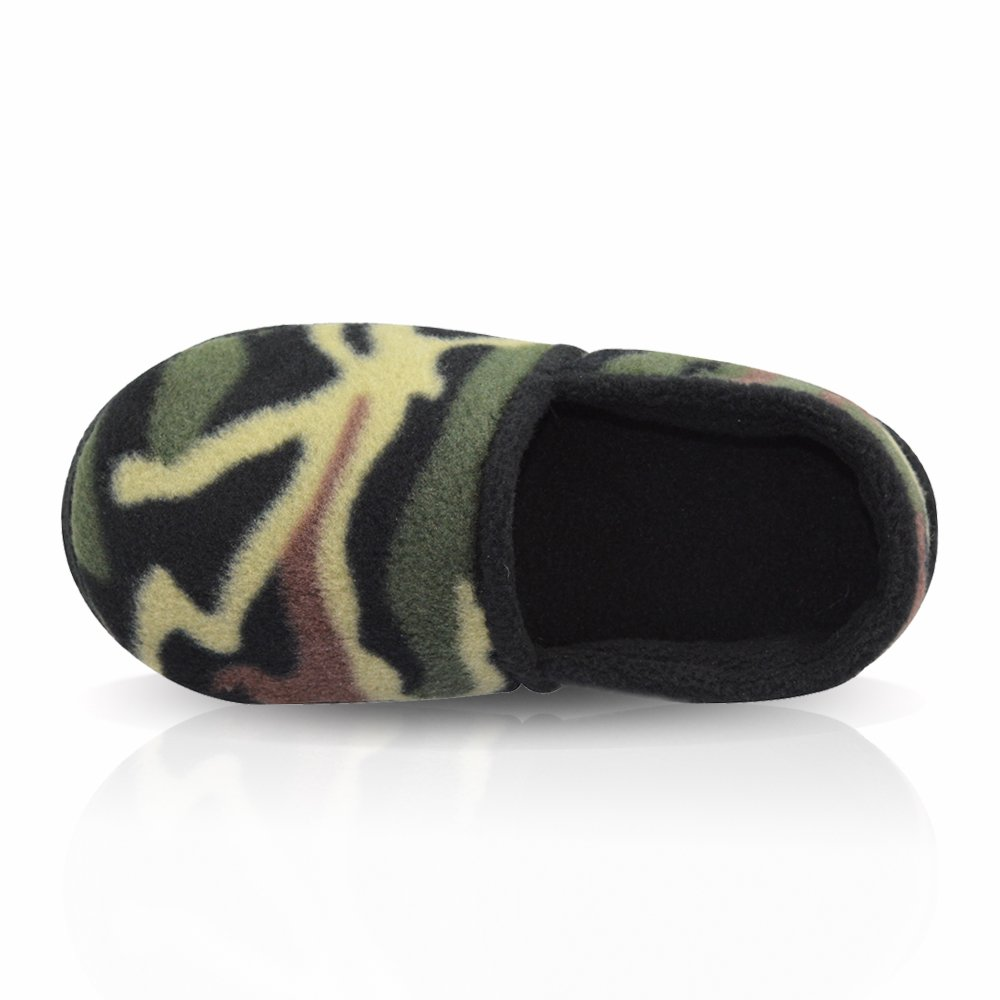 LA PLAGE Boy//Little Kid Winter Warm Cozy Camouflage Comfy Plush Indoor Slip-on Slippers with Hard Sole DM-178