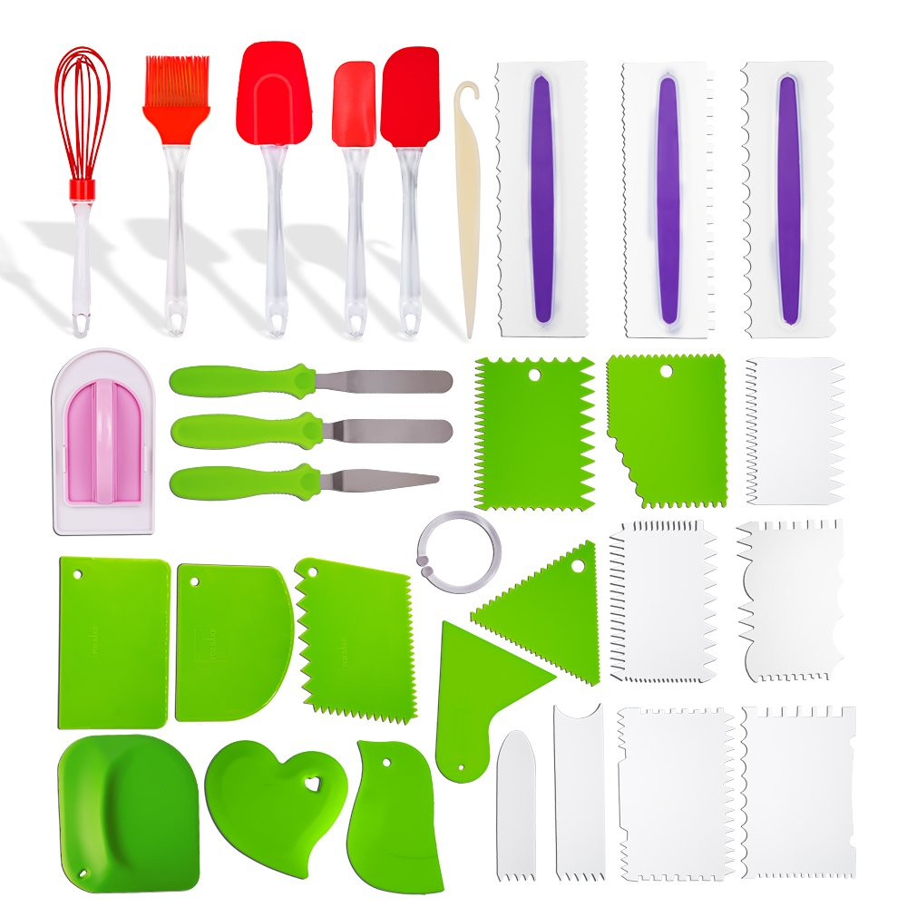 kenman 30pcs Cake Decorating Supplies Kit with 20 Decorating Comb & Icing Smoother,3 Icing Spatula,3 Heat-Resistant Silicone Spatulas,1 Fondant Smoother,1 Stripping Knife,1 Pastry Brush,1 Whisk