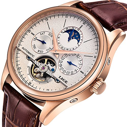 Watches Mens uxury Brand LIGE Mechanical Automatic Men Waterproof Moon Phase Brown Leather Wrist Watch