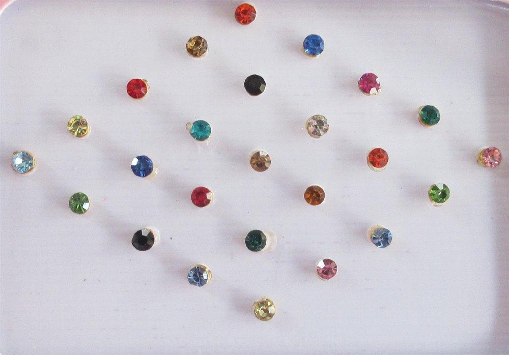 25 Colorful 2mm Crystals Eye Bindi Sticker Pack/ Bindis/ Self Adhesive/ Fake Nose Stud/ Stick On Studs ultimate fab stufff