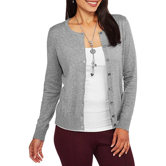 8631fb0dd1c1 Faded Glory Women s Everyday Crew Neck Open Front Cardigan Sweater ...