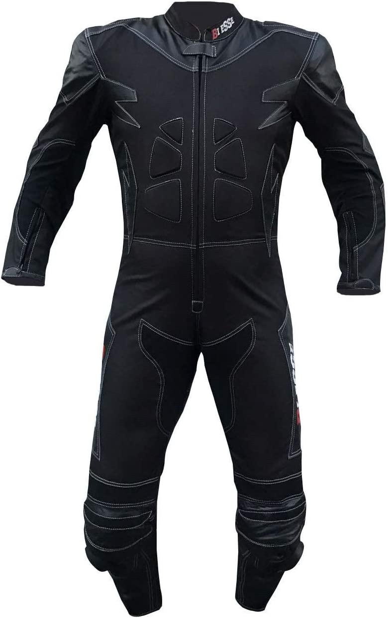 Pit bike Avec bosse dorsale et protections rigides certifi/ées CE Touring id/éale pour les longs trajets Combinaison de moto BIESSE 4XL noir M rouge//noir en cuir et tissu Tailles XS