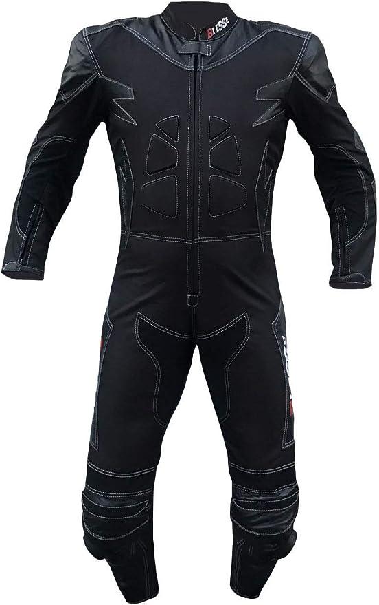 colore Nero//Rosso Tuta da MOTO per adulto in pelle e tessuto 4XL regolabile Taglie XS divisibile in 2 pezzi giacca e pantalone nero//rosso, 3XL BIESSE completa di protezioni CE