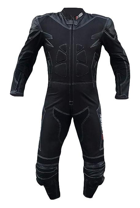 BIESSE – Traje de motorista completo de piel y tela, ideal para carretera, viajes largos, touring, pickbike, color negro, tallas XS – 4XL con goma y ...