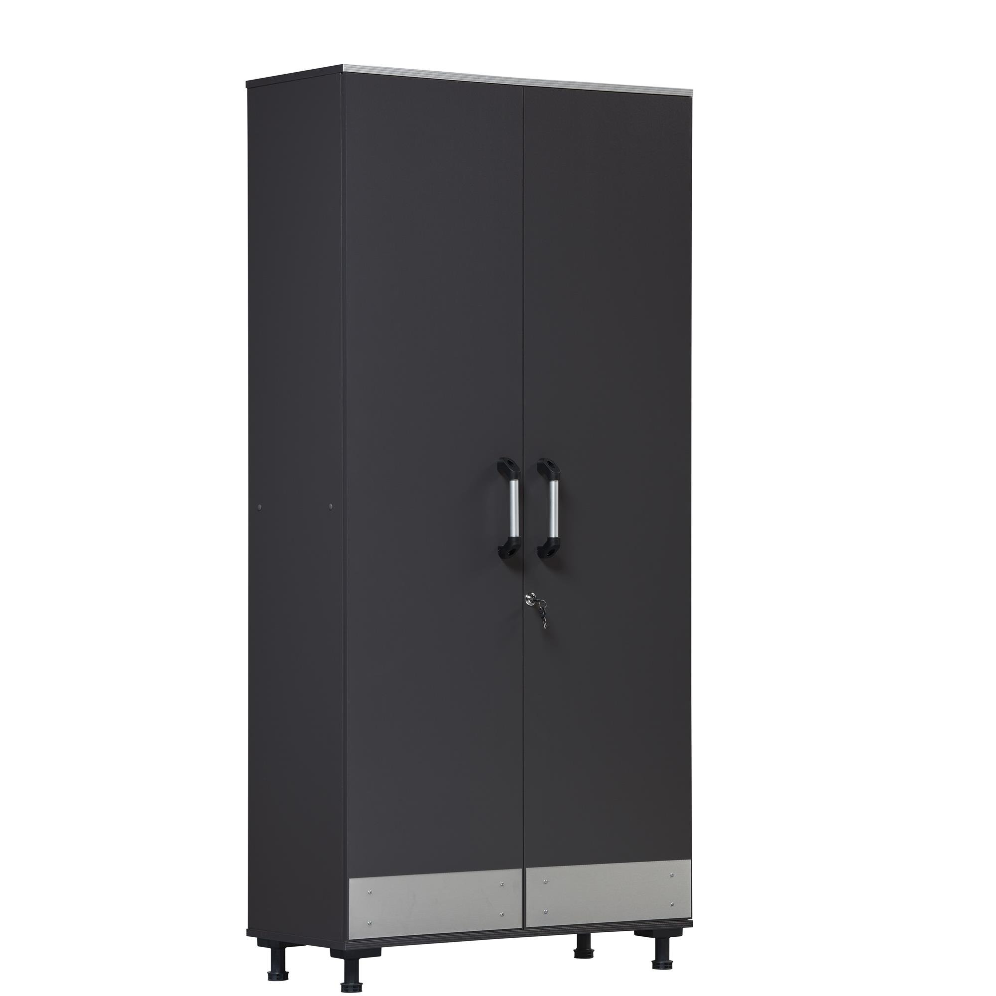 SystemBuild  Boss Tall Storage Cabinet, Charcoal Gray by Ameriwood Home