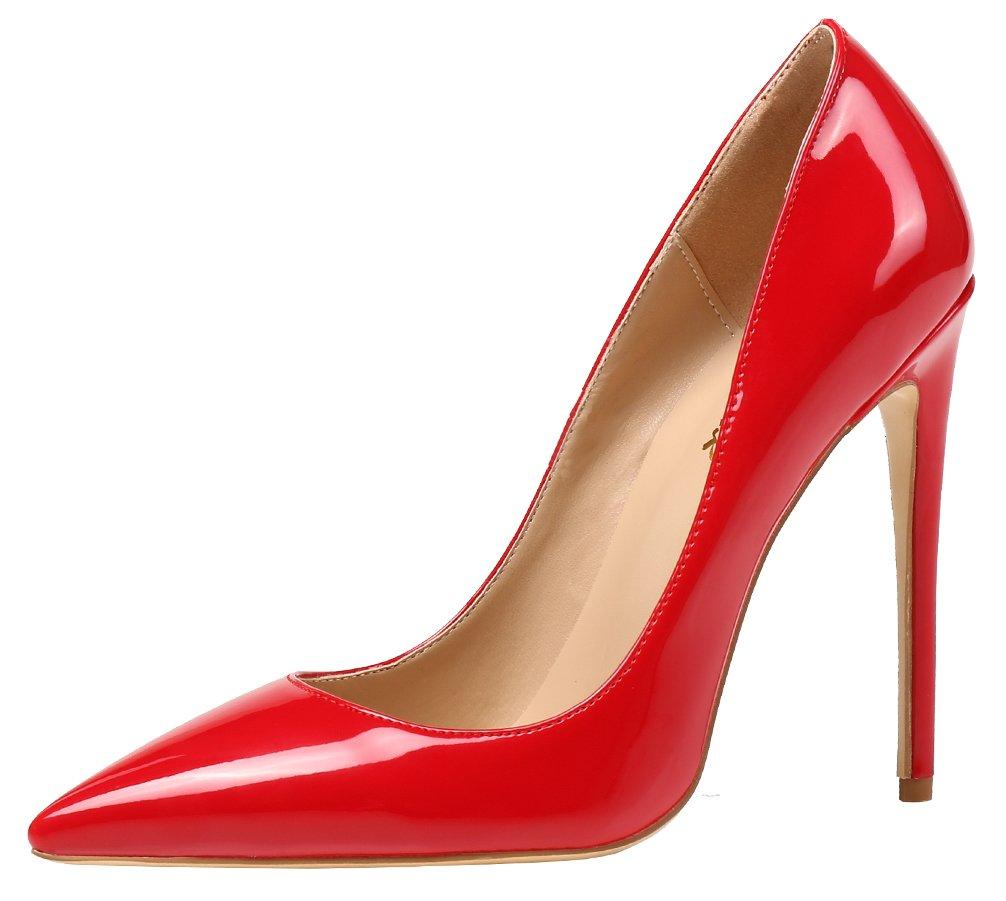 AOOAR AP09N - Zapatos de Vestir de Sintético para Mujer 42 EU|Rot/Lackleder