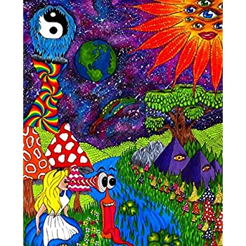 Alice in Wonderland Trippy Outer Space Poster