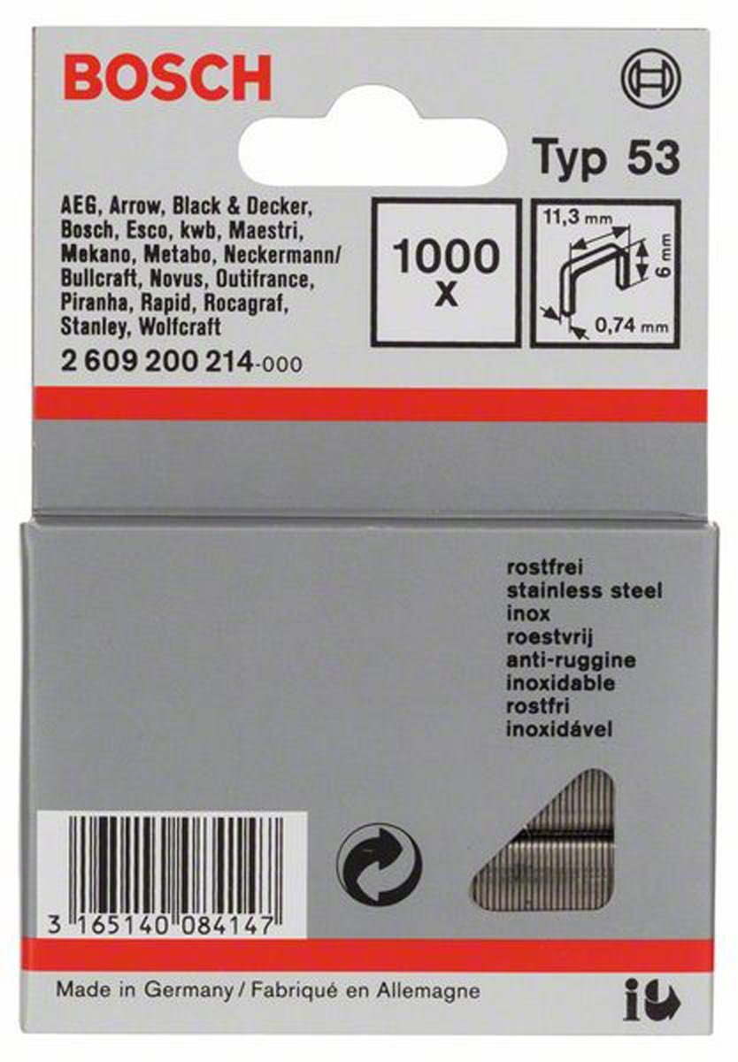 Bosch Professional Zubeh/ör 2609200215 Feindrahtklammer Typ 53 11,4 x 0,74 x 8 mm