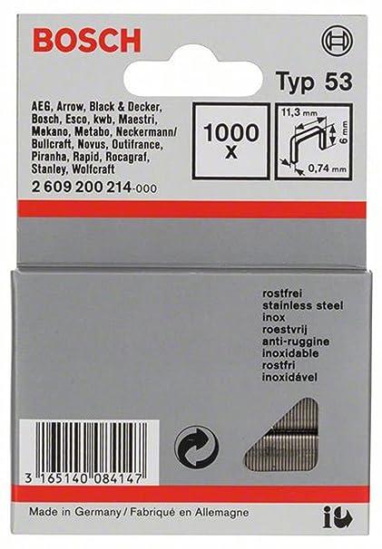 Bosch 2 609 200 214 - Grapa de alambre fino tipo 53-11,4 x 0,74 x 6 mm (pack de 1000)