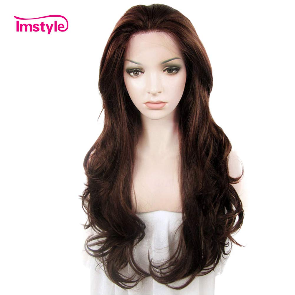 IMSTYLE Lace Front Wigs Natural Brown Wigs For Women Synthetic Long Wave Heat Resistant Synthetic Hair Costume Wigs 26inch by Imstyle
