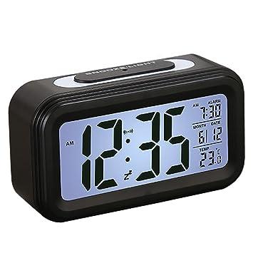 Despertador, SEGURO Reloj Digital con LCD Gran Pantalla Digital Alarma Despertadores Reloj con Información de Fecha, Función Snooze, Indicador de ...