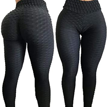 ad210583d Amazon.com  RIOJOY Yoga Pants for Women Fitness Compression Leggings High  Waist Ruched Butt Gym Running Tummy Control Sportwear Tights  Clothing