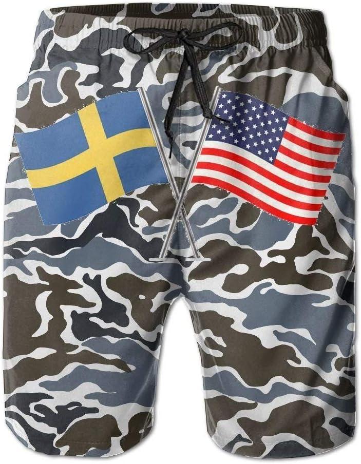 American Swedish Flag Boardshorts Mens Swimtrunks Fashion Beach Shorts Casual Shorts Swim Trunks