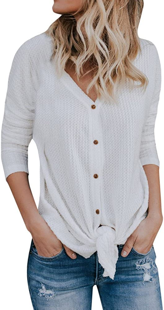 JIAJU-DJ Womens Waffle Knit Tunic Blouse Front Tie Knot Henley Tops Button Down Knitting Cardigan Batwing Plain Shirts