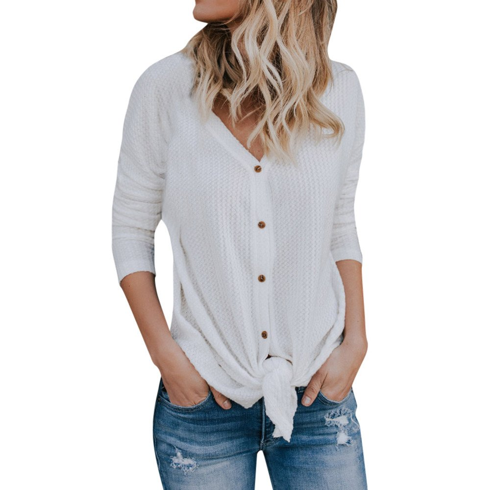 Farjing Blouse for Women,Clearance Sale Womens Loose Knit Tunic Blouse Tie Knot Henley Tops Bat Wing Plain Shirts(M,White