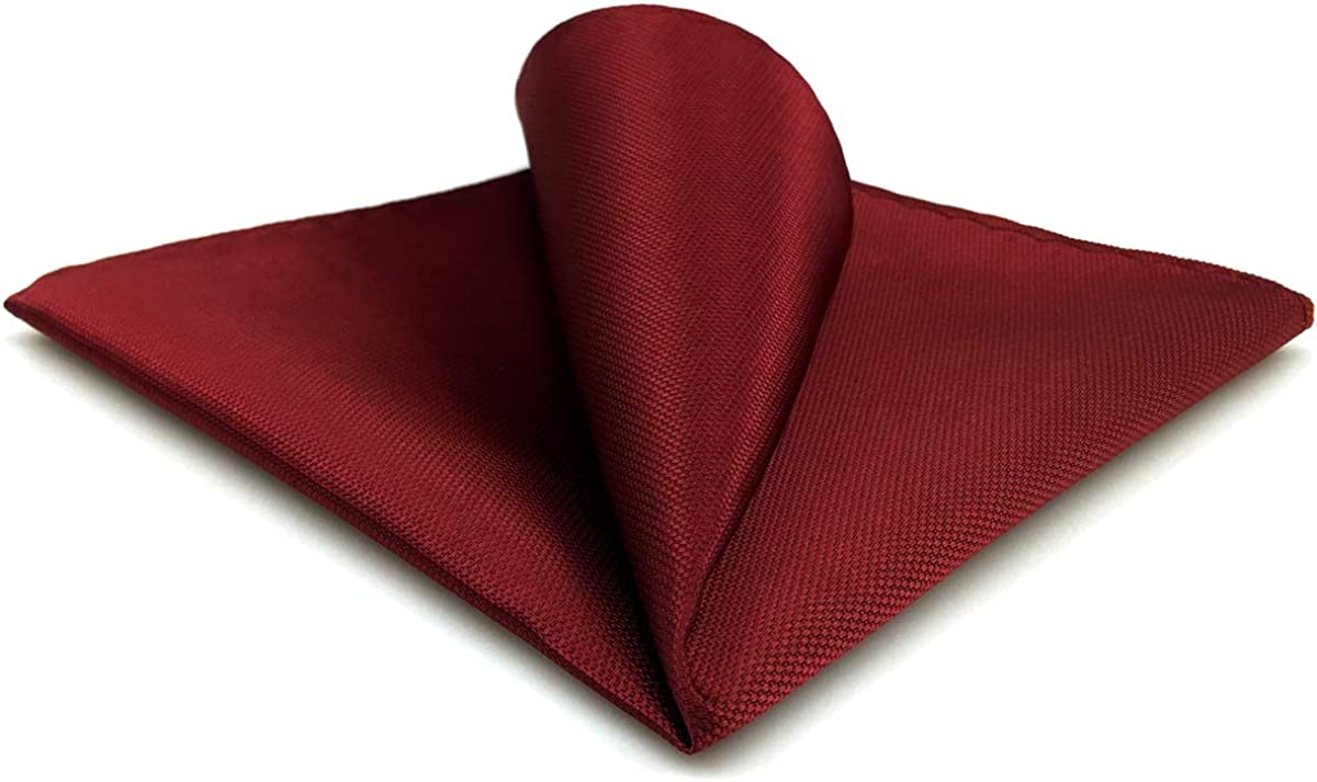 SHLAX&WING Pocket Square for Men Solid Red Silk Wedding Jacquard Woven Hanky