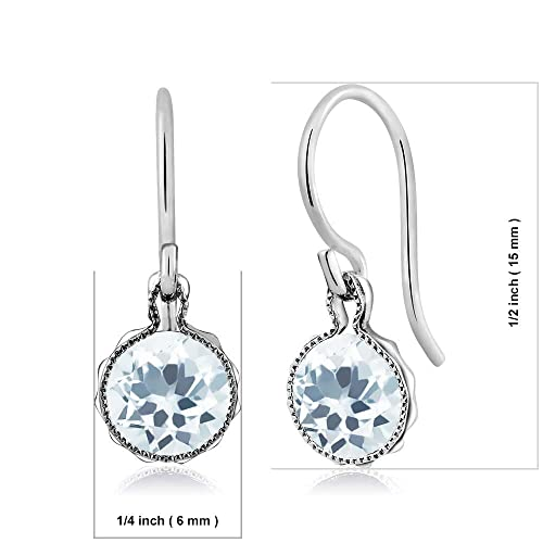 Gem Stone King 1.50 Ct Round Sky Blue Aquamarine Gemstone Birthstone 925 Sterling Silver Dangle Earrings 6mm
