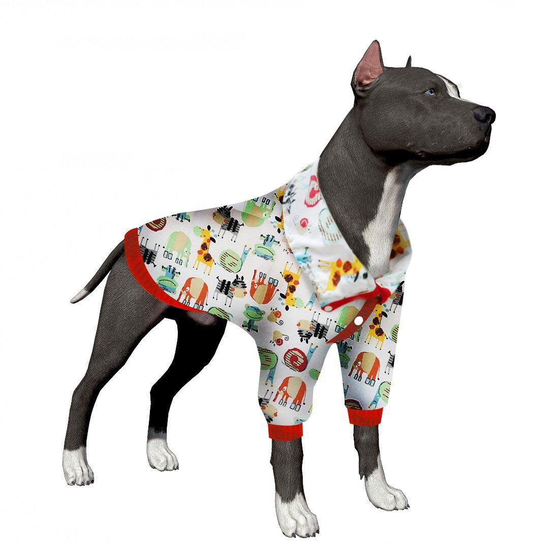 LovinPet Pitbull Pajamas Post Surgery Wear Dog Clothes Pet Dresses Large Dog Shirt Boxer Clothes Large Dog Shirt Cotton Dog Pajamas For For Pitbull Labrador Boxer (Please Read Description)