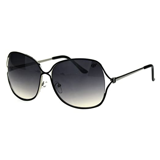 0fbc942c382f Womens Classic Mod Oversize Butterfly Metal Designer Sunglasses Black Smoke