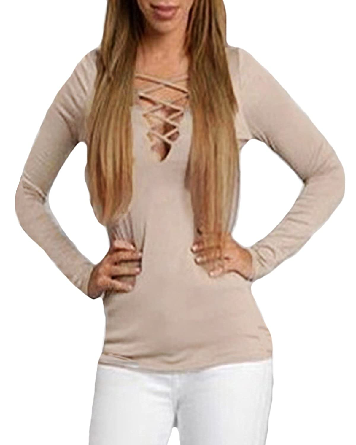 da943a8022 Auxo Women Sexy Lace-Up Front Deep V-Neck Pocket Long Sleeve Casual Blouse  Tops Shirt at Amazon Women s Clothing store