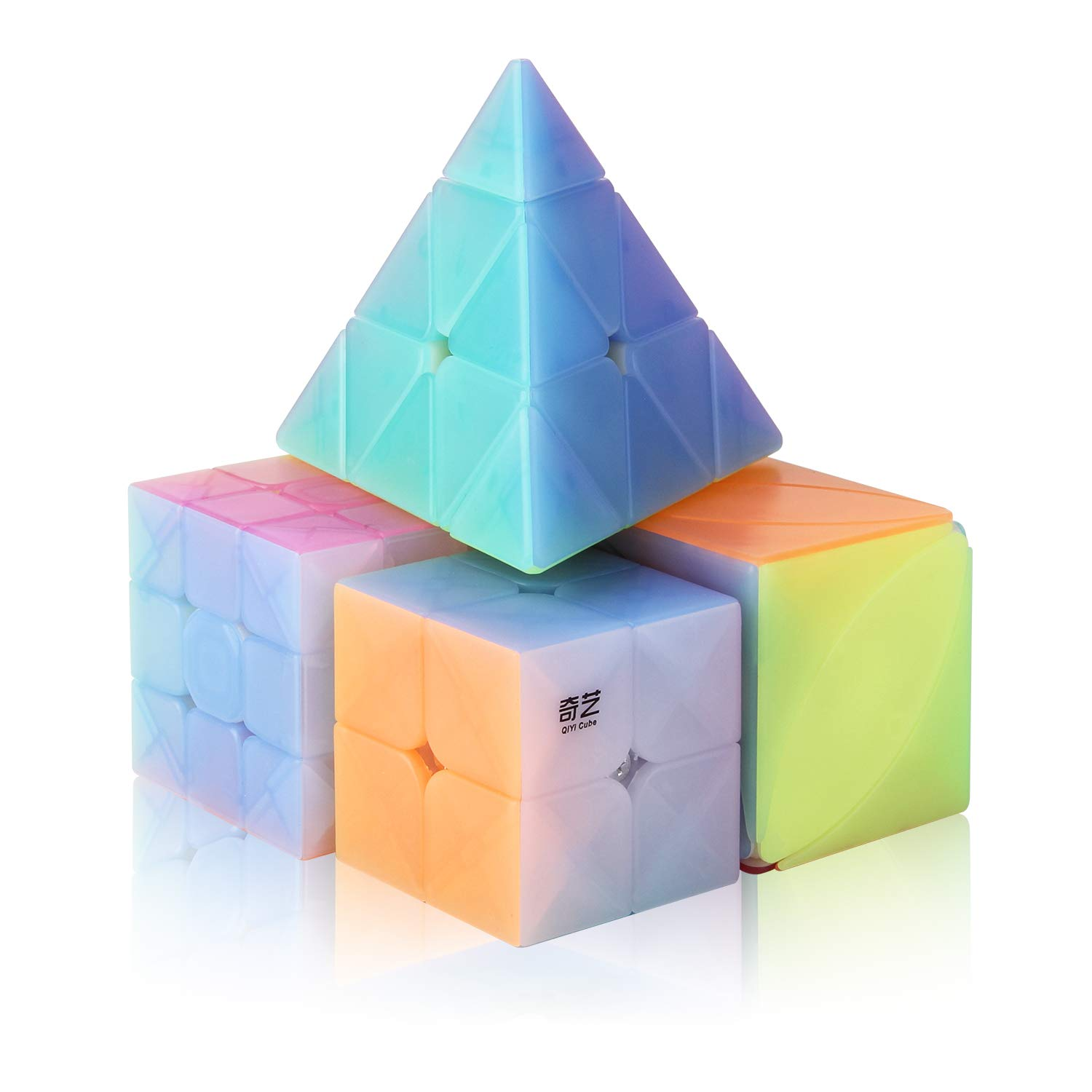 Roxenda Speed Cube Set, Jelly Speed Cube Bundle 2x2 3x3 Pyramid and Ivy Speed Cube Smooth Stickerless Cube Puzzle Toy for Kids