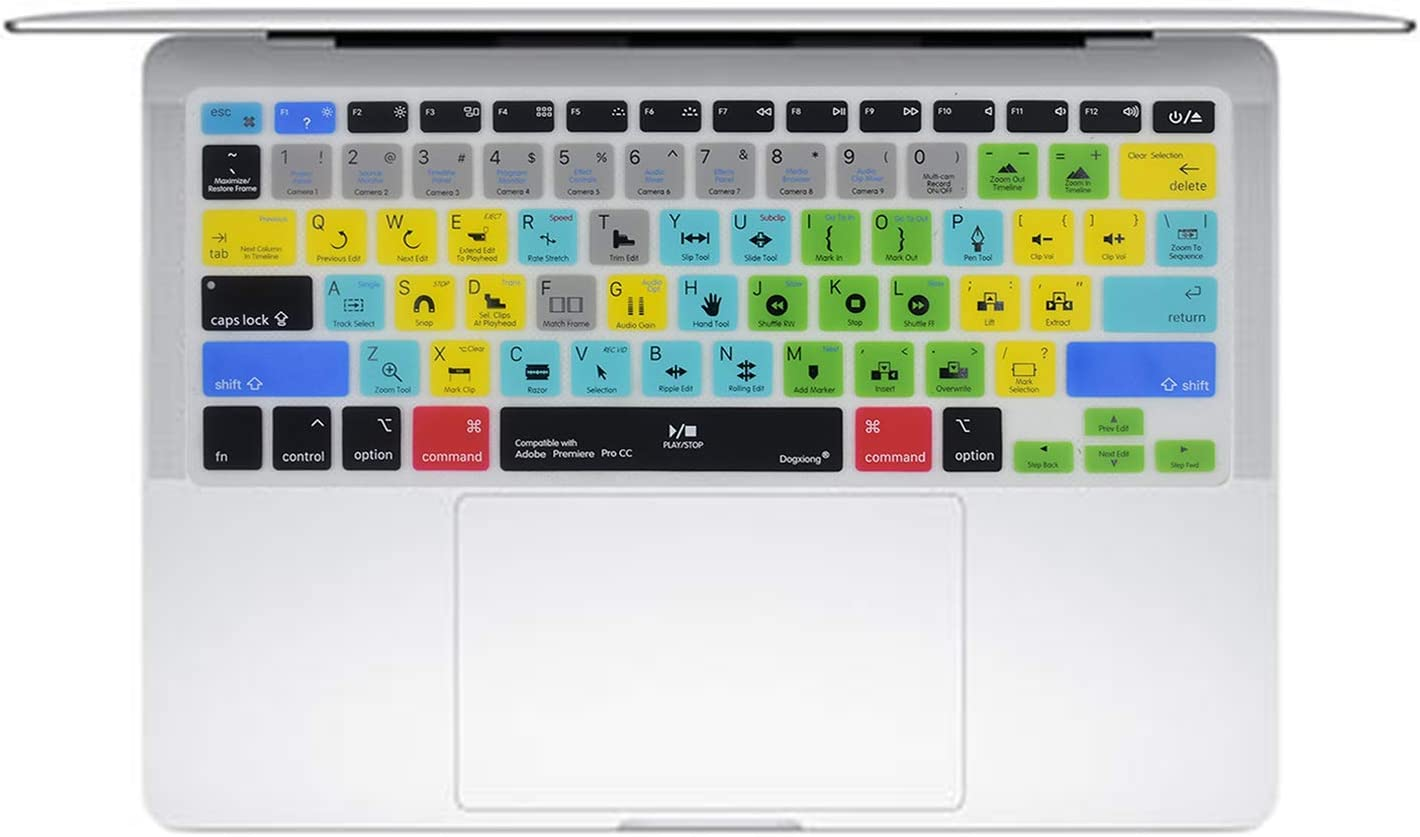 """Dogxiong Adobe Premiere Pro CC Shortcuts Hot Keys PS Silicone Keyboard Cover Keyboard Skin Protection for MacBook Air 13 inch(No-Touch ID) ; for MacBook Pro 13"""" 15"""" (2015Rd Before)"""
