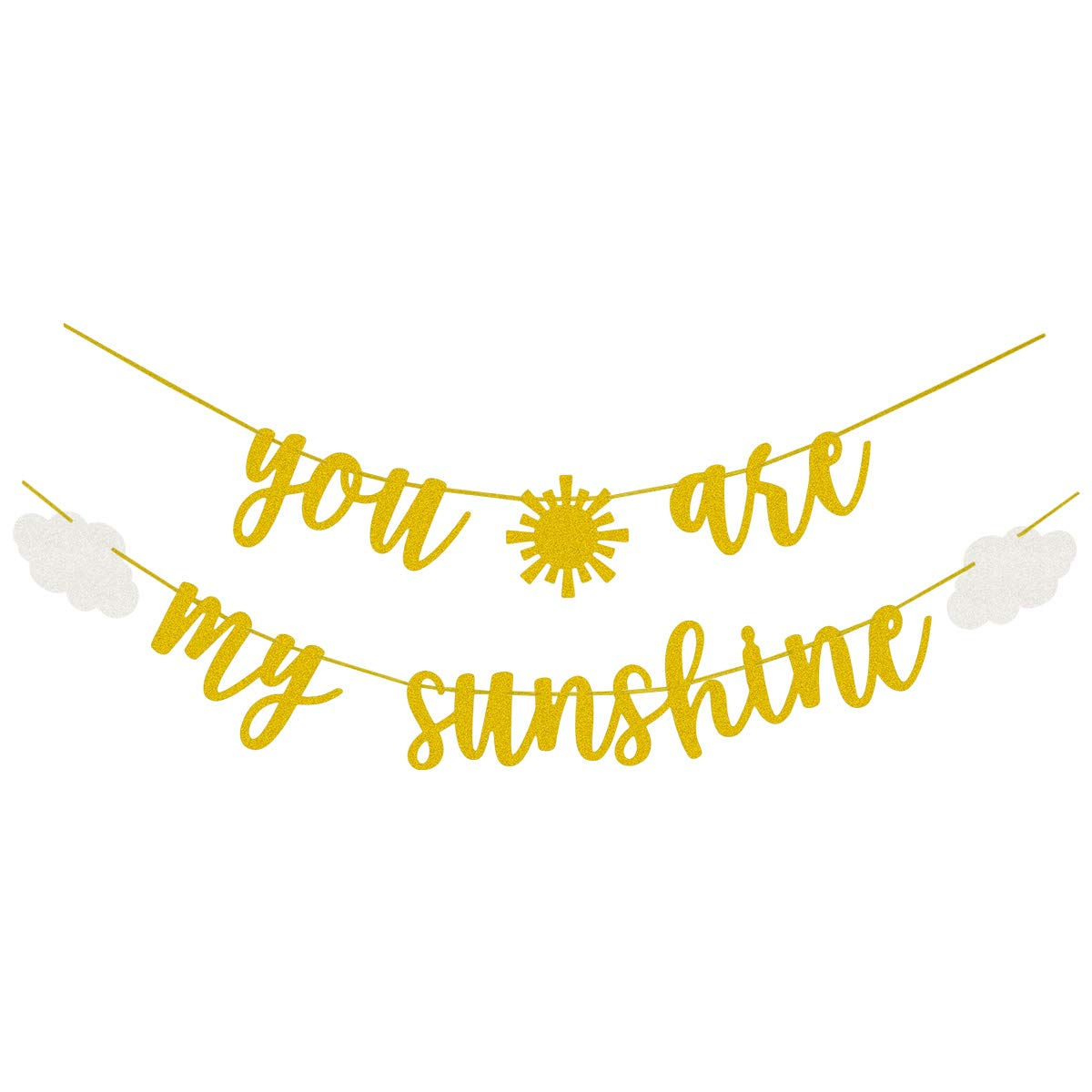 You Are My Sunshine Gold Glitter Banner with Sun and Clouds for Baby Shower Kid's Birthday Party Decorations by Fadilo