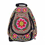 Women Handmade Flower Embroidered Bag Canvas National Trend Embroidery Ethnic Backpack Travel Shoulder Bags Schoolbags Mochila (red sunfloral)