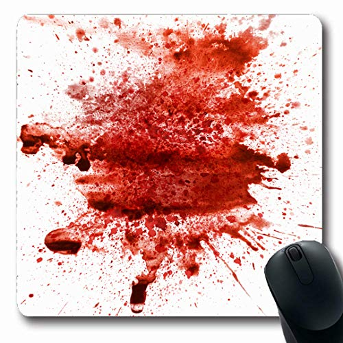 Ahawoso Mousepads Liquid Red Splat Blood Splatter Abstract Art Watercolor Wet Color Dirty Drip Drop Oblong Shape 7.9 x 9.5 Inches Non-Slip Gaming Mouse Pad Rubber Oblong Mat