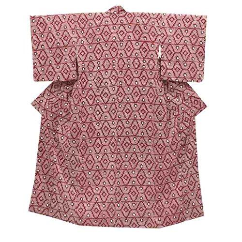 (着物ひととき) リサイクル 小紋 中古 正絹 絞り文様 裄63cm 赤系 裄Sサイズ 身丈Mサイズ ll1832a05【中古】