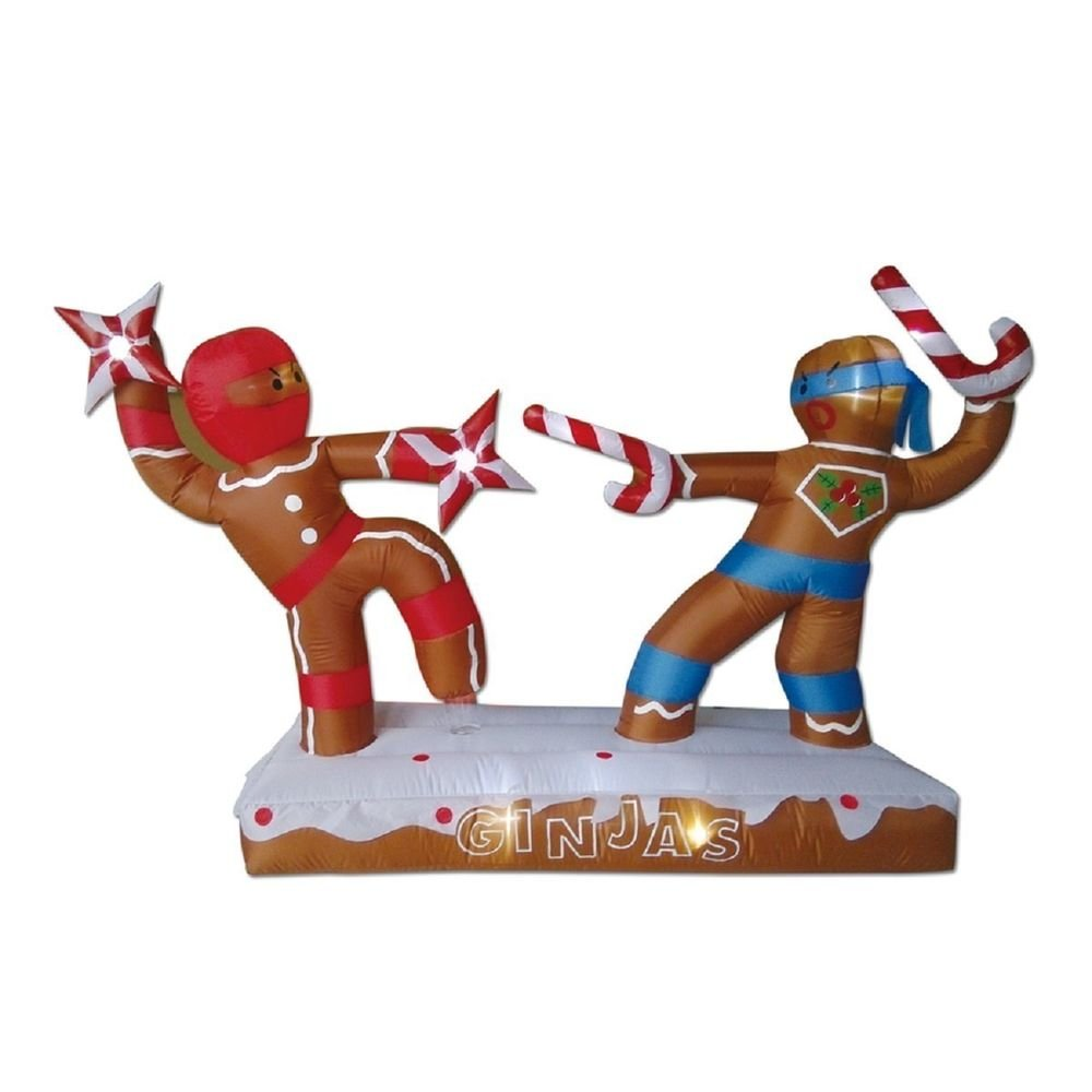Amazon.com: CHRISTMAS INFLATABLE 6.8' DUELING GINGERBREAD MAN ...