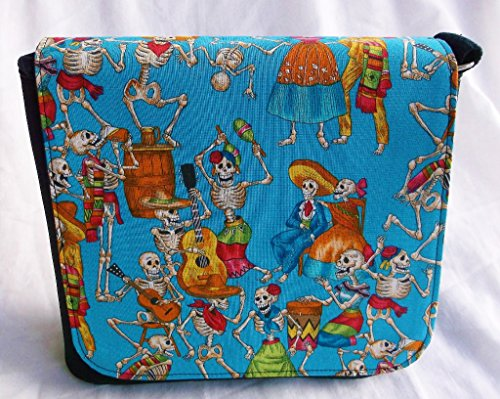 New Day of the Dead Teal Collection Messenger Bag By Gifts and Beads by Gifts and Beads