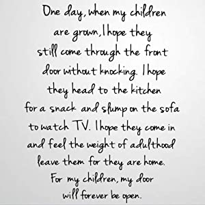 One Day When My Children are Grown Vinyl Wall Decal, Dad,Mom,Parents Gift Inspirational Quotes Stickers Motivational Wall Art Sticker Wall Mural Home Decor for Kids Room Bedroom Living Room
