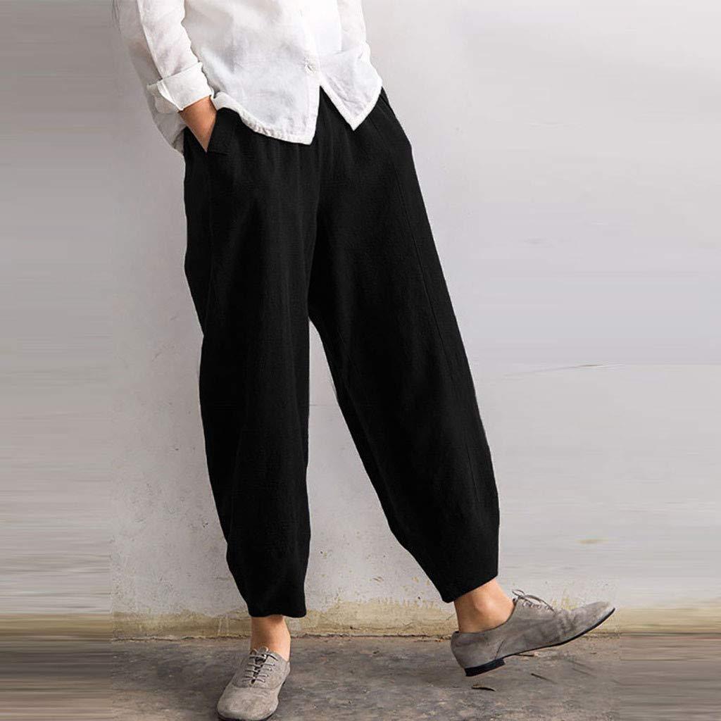 Pervobs Women Fashion Loose High Waist Solid Comfortable Elastic Waist Linen Pocket Long Pants Trousers (4XL, Black) by Pervobs Women Pants (Image #2)